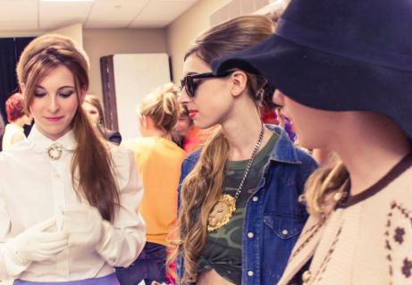 Derpin' around backstage in our rad vintage outfits. Photo by Maggie Martinez